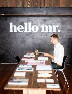 Ryan Fitzgibbon in Hello Mr's temporary Oxford st Pop Up office!  Photo – Phu Tang.