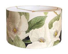 X-LARGE Linen White Blossom Lamp Shade  Moss Cream by artanlei