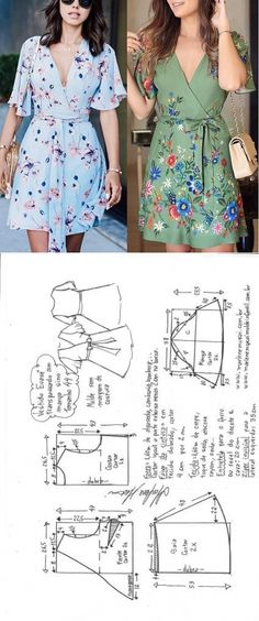 Vestido evasê transpassado com manga sino | DIY - molde, corte e costura - Marlene Mukai // Taika Wrap Dress Patterns, Pattern Dress, Diy Clothes Patterns, Dress Paterns, Dress Sewing Patterns, Sewing Clothes, 36, Short Pattern, Sew Dress