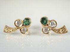 Old European Cut Diamond Estate Three Leaf Clover Earrings