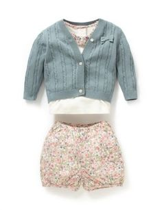 3 Piece Pure Cotton Floral Collar Top, Cardigan & Bloomer Shorts Outfit | M&S