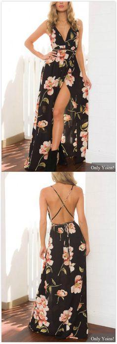 Black Sexy Plunge V-neckline Random Floral Print Maxi Dress