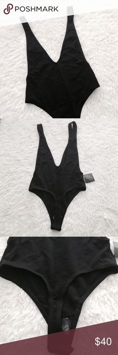 Nasty Gal Plunge Bodysuit Deep v neckline & open low back. 2 snap crotch closure with thong bottom. New and never worn, this will not be modeled. Stock photos are similar but not exact bodysuit.   •USE OFFER FEATURE TO DISCUSS PRICING  •YOU MAY ASK FOR A BUNDLE QUOTE  •NO OUTSIDE TRANSACTIONS •NO TRADES Nasty Gal Tops