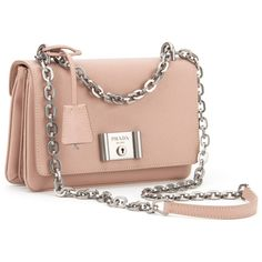 Prada Bags ($1,575) ❤ liked on Polyvore featuring bags, handbags, cammeo, snap bags, pink bag, flap lock bags, chain handle handbags and prada handbags