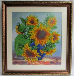 Beads embroidered picture 'Sunflowers'