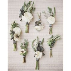 The perfect boutonnières for a late August wedding. We love the simplicity and movement of these miniature arrangements by @colonialhouseofflowers for your #groom and his #guys.