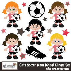 Girls Soccer Team Digital Clipart and Paper for by PPbNDesigns, $5.00 Girls Soccer Team, Soccer Theme, Sports Party, Kids Sports, Silhouette America, Digital Stamps, Cool Drawings, Football Cakes, Card Making