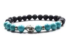 Buddha Bracelet with Turquoise and Black Lava Beads. Hematite Bracelet, Wood Bracelet, Lava Bracelet, Black Bracelets, Bracelets For Men, Beaded Bracelets, Turquoise Jewelry, Turquoise Bracelet, Man Wear