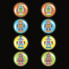 Robot Magnet Set Of 8, $17.50, now featured on Fab.
