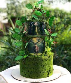 New Cake Christmas Design Fondant 20 Ideas Cake Icing, Cupcake Cakes, Cake Cookies, Cupcakes, Pretty Cakes, Beautiful Cakes, Moss Cake, Woodland Cake, Green Cake