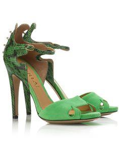 125mm Green Snakeskin Stilettos | Aperlai | Avenue32