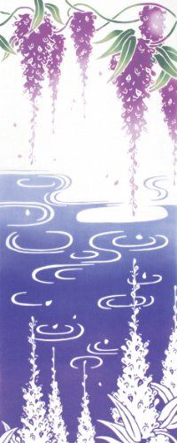 "kenema Chusen Tenugui ""Kaho"" Fuji Kagami 36 x 90cm Kaho (花圃): Flower garden Fuji (藤): Wisteria Kagami (鏡): Mirror"