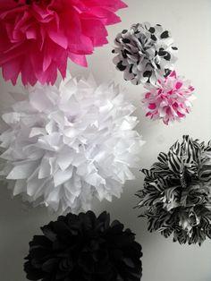 Zebra party decorations ... 10 pompoms - hot pink princess. $38.00, via Etsy.