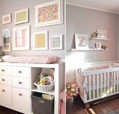 pink and grey nursery for baby girl