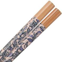 Japanese indigo dyed fabric patterns printed on clear lacquered bamboo chopsticks. Japanese made chopsticks.