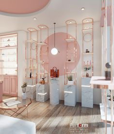 Photo by Đào Tùng on behance · · · Perfume shop luxury on Behance Beauty Salon Decor, Beauty Salon Design, Beauty Salon Interior, Boutique Decor, Boutique Interior Design, Boutique Store Design, Retail Interior Design, Boutique Shop, Schönheitssalon Design