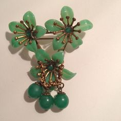 Celluloid Pin With 3 Flowers and 3 Dangling Balls