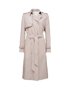 March coat -Women's double-breasted coat with soft and slinky handfeel. Features hook and eye closure at collar and separate tie belt. Detachable epaulettes and yoke details. Two side pockets and one inside pocket. Fully lined. Regular fit. Mid-calf length.
