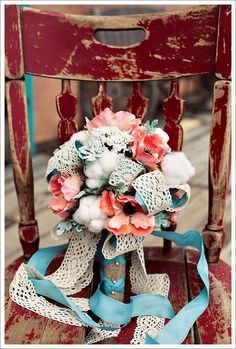 A Crochet and Cotton Bouquet: Eye Candy cotton, wedding trends, vintage weddings, wedding bouquets, colors, ribbons, vintage bouquets, peach, flowers