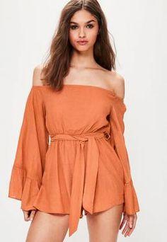 855bc1183b4 More ideas. Orange Crinkle Bardot Playsuit ...