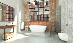 Take your bathroom design into the realm of industrial home design with these inspirational bathroom designs and industrial bathroom accessories. Industrial Chic, Industrial Bathroom Lighting, Industrial Interiors, Industrial House, Industrial Wallpaper, Industrial Closet, Industrial Bookshelf, Industrial Windows, Industrial Restaurant