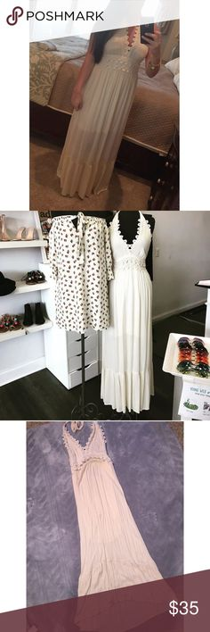 • Cream Maxi Dress • • Cream • 2 layered • Open back • Only worn once • From boutique • Excellent condition • Alicia Dimichele Dresses Maxi