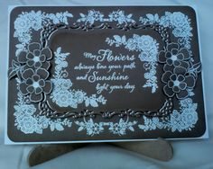 Craft cards embossed in white using a mix of Clarity, Anna Marie Designs & Kanban stamps with a Spellbinder die