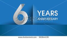 6 years Anniversary celebration logo, flat design isolated on blue background, vector elements for banner, invitation card and birthday party.