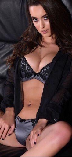 Sexy brunette girl open legs lingerie
