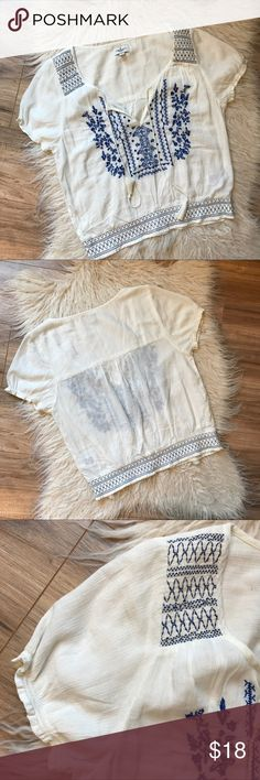 American Eagle Outfitters embroidered top Good condition, no rips stains or pilling, 55% cotton, 45% viscose, color- blue and white, no trading American Eagle Outfitters Tops Blouses