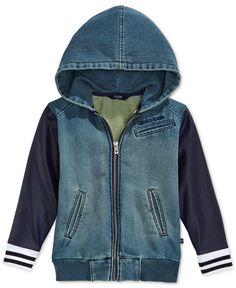 Guess Little Boys' Layered-Look Denim & Pleather Hooded Jacket