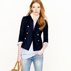 I have a feeling in going to be incorporating a little preppy chic with my usual more boho type leanings this spring. I NEED a blazer from the boys department so it is shrunken and cute.