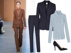 9Ways to Style a Turtleneck for Fall - With Suit Separates  - from InStyle.com :: Nail the tonal color trend with a monochromatic look in shades from the same family, as seen on Derek Lam runway. Not into brown? Try it with navy suit and a sky blue melange turtleneck—perfect for the office.