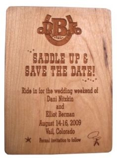Country/western wedding invitation| Cowboy wedding ideas| wooden invitation