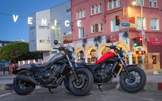 The old Honda Rebel 250 introduced countless new riders to the joys of motorcycling. Now, the 2017 Rebel 300 and Rebel 500 offer a more modern option. Street Motorcycles, Street Bikes, Honda Rebel 300, Retro Motorcycle, Honda S, Moto Guzzi, Harley Davidson Bikes, Venice Beach