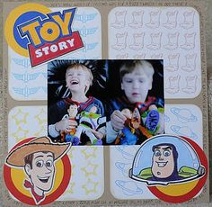 Toy Story layout using the Chomas Creations mini gel pen holder for the Cricut to draw the background paper and the Buzz & Woody, which were then colored with Copic markers.