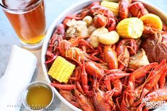 crawfish boil with butter and beer