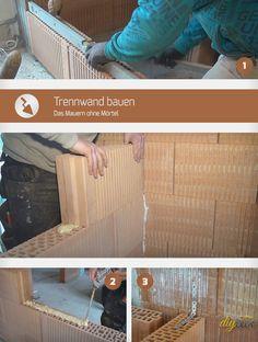 Folgende Anleitung gibt Tipps beim Mauern ohne Mörtel und zeigt alles, was beim Bauen einer Trennwand mit Planziegeln und Kleber beachtet werden muss.