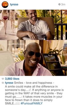 """Photo shared by Tyrese Gibson: """"Smiles - love and happiness"""" Furious Movie, The Furious, Fast And Furious, I Dont Have Friends, Smart Men, Thing 1, Vin Diesel, Paul Walker, Man Alive"""