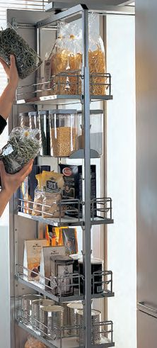 Kessebohmer Dispensa Swing Pull Out Pantry In Chrome   Clever Storage For  The Kitchen