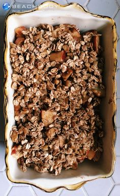 This savory dessert features the rich flavor of baked apples, walnuts, oats, and a touch of maple syrup. #thanksgiving #thanksgivingrecipes #apples #dessert #glutenfree #recipes #vegan #vegetarian