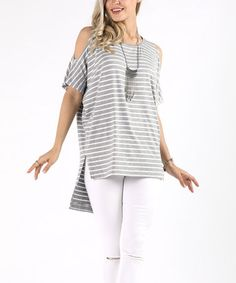 4d790cb73bfc61 Loving this Gray Stripe Cold-Shoulder Hi-Low Tunic - Plus Too on