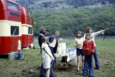 Deb-archery on the set of Swallows & Amazons in 1973: practicing with bows and arrows behind the unit buses. The bows were handmade from hazel saplings and string so were probably rather dangerous. I still have one.