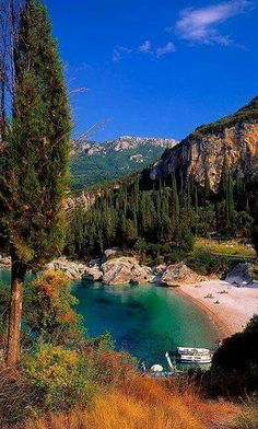 Paleokastritsa beach, Corfu island, Ionian Sea, Greece