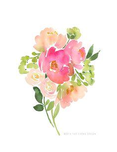 Yao Cheng Design - Bouquet of Pink Peonies - Watercolor Art Prints Watercolor Cards, Watercolour Painting, Watercolor Flowers, Painting & Drawing, Watercolors, Watercolor Artists, Watercolor Design, Watercolor Portraits, Watercolor Landscape