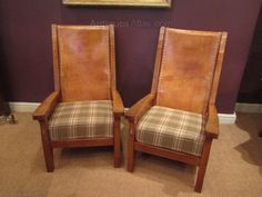 Antiques Atlas - Outstanding Pair Of Mouseman Smokers Armchairs Robert Thompson, Retro Armchair, Wool Fabric, Wingback Chair, Accent Chairs, Cushions, Pairs, Smokers, Armchairs