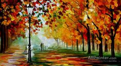 Leonid Afremov The Season Of Orange Leafs oil painting reproductions for sale