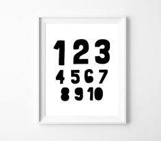Monochrome Nursery Number Art Printable Poster, 123 Wall Art Printable, Modern Nursery Numerical Poster, Instant Download *DIY PRINT*