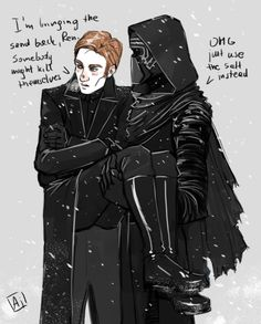 Context: Ren prohibited any use of sand on the Starkiller base (they used it to make pavements less slippery). Hux slipped on ice and twisted his ankle so Kylo had to bring him to the med bay.