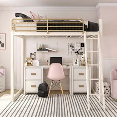 dream rooms for adults ; dream rooms for women ; dream rooms for couples ; dream rooms for adults bedrooms ; dream rooms for girls teenagers Loft Beds For Teens, Bed For Girls Room, Girl Room, Cute Rooms For Girls, Loft Beds For Small Rooms, Teen Girl Bedrooms, Rooms For Kids, Small Bedroom Ideas For Teens, Bed Rooms